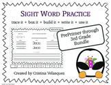 Sight Word Practice BUNDLE  Trace - Box  - Write  - Build  - Use