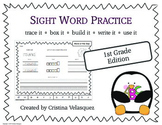 Sight Word Practice FIRST GRADE Trace - Box - Write - Build - Use