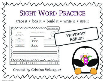 Sight Word Practice PREPRIMER  Trace - Box  - Write  - Bui