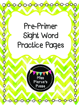 Dolch Sight Word Practice: Pre-Primer