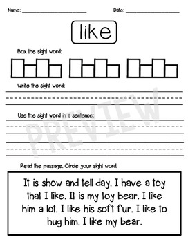 Dolch Sight Word Practice Pages for Kindergarten (Primer List)