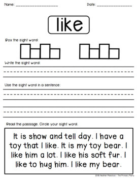 PRIMER Sight Word Practice Pages