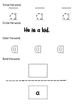 Dolch Sight Word Practice - Pre-Primer