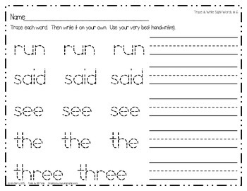 Dolch Sight Word Practice - Pre-Primer Words