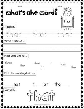 Dolch Sight Word Practice - Pre-Primer and Primer Lists
