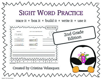 Sight Word Practice SECOND GRADE Trace - Box - Write - Build - Use