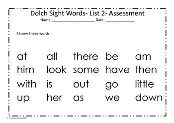 Dolch Sight Word Practice Sheets List 2 - No Prep!