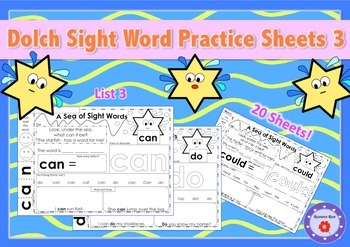 Dolch Sight Word Practice Sheets - List 3