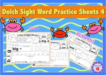 Dolch Sight Word Practice Sheets - List 4 - No prep!