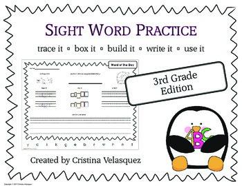 Sight Word Practice THIRD GRADE Trace - Box - Write - Build - Use