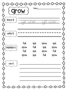 Dolch Sight Word Practice: Third Grade