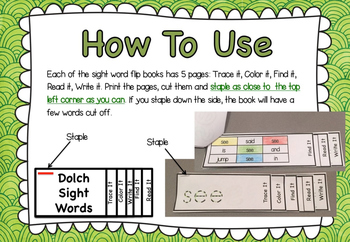 Sight Word Pre Primer FLIP BOOKS