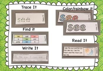 Sight Word Pre Primer FLIP BOOKS Sample