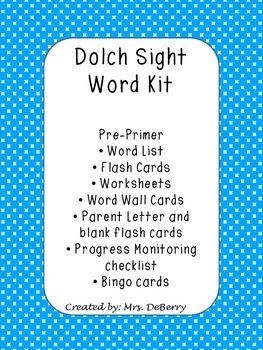 Dolch Sight Word Pre-Primer Kit