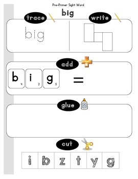 Dolch Sight Word Pre-Primer Worksheets