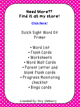 Dolch Sight Word Primer List