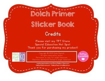 Dolch Sight Word Primer Sticker Book