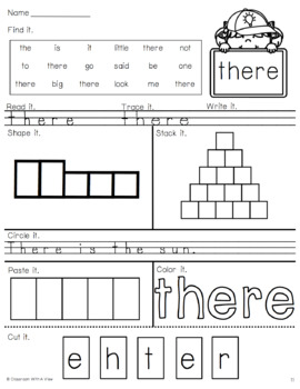 Dolch Sight Word Quick Practice Primer Words