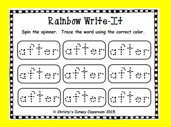 Dolch Sight Word Rainbow Write-It--First Grade List