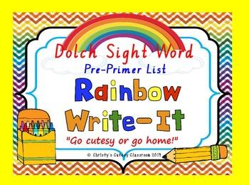 Dolch Sight Word Rainbow Write-It--Primer