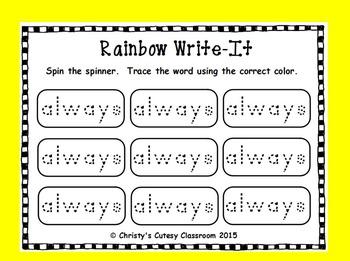 Dolch Sight Word Rainbow Write It--Second Grade List