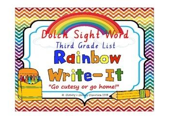 Dolch Sight Word Rainbow Write It--Third Grade List