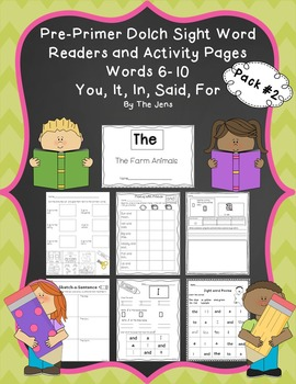 Sight Word Readers and Word Work Pre-Primer Dolch Words 6-