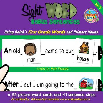 Rebus Sentences Using Dolch Sight Words (FIRST GRADE List)