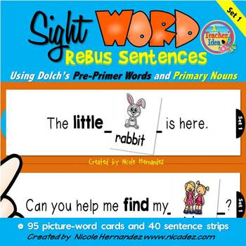 Dolch Sight Word Rebus Sentences with Picture Cards (PRE-P