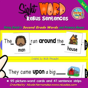 Dolch Sight Word Rebus Sentences with Picture Cards (SECON