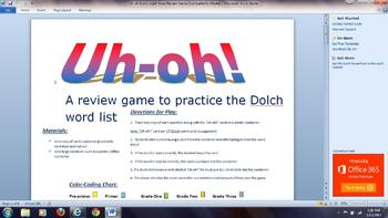 Dolch Sight Word Review Game