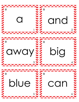 Dolch Sight Word Rings Chevron