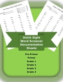 Dolch Sight Word Screener Documentation Sheets