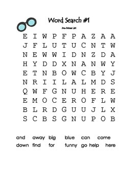 Dolch Sight Word Search Packet