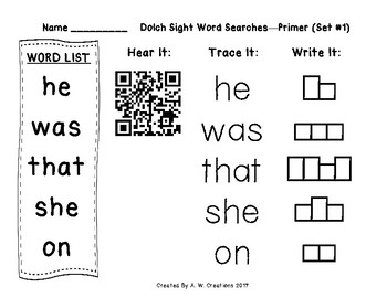 Dolch Sight Word Searches QR Codes Primer Sets 1 to 11