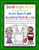 Dolch Sight Word Second Grade Word Search and Math Scramble