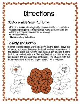 Dolch Sight Word Sentences- Basketball Game