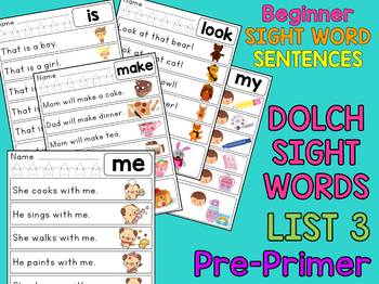 Dolch Sight Word Sentences - Pre Primer List 3 : Little Lotus Guided Reading