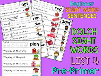 Dolch Sight Word Sentences - Pre Primer List 4 : Little Lotus Guided Reading