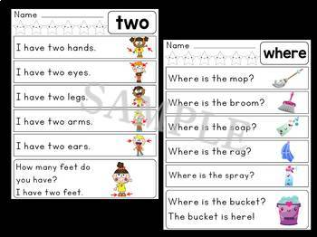 Dolch Sight Word Sentences - Pre Primer List 5 : Little Lotus Guided Reading