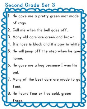 Dolch Sight Word Sentences and Recording Form
