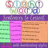 Sight Words Sentences to Correct