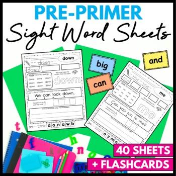 Sight Word Practice Sheets PrePrimer