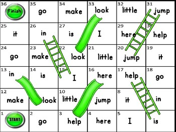 Dolch Sight Word Slides and Ladders Games For K-Grade 1
