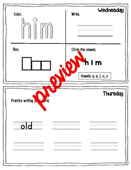 Dolch Sight Word Spelling Homework Companion