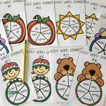 Dolch Sight Word Spinners