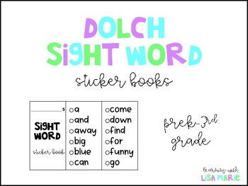 Dolch Sight Word Sticker Books