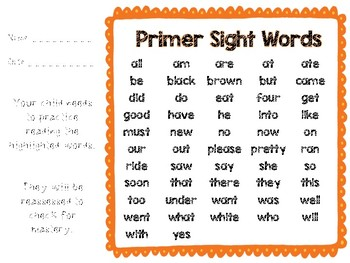 Dolch Sight Word Take Home Practice Sheets