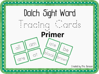 Dolch Sight Word Tracing Cards: Primer