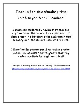 Dolch Sight Word Tracker